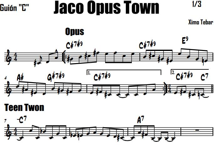 XIMO TEBAR JACO PASTORIUS PARTITURA CHART JACO OPUS TEEN TOWN