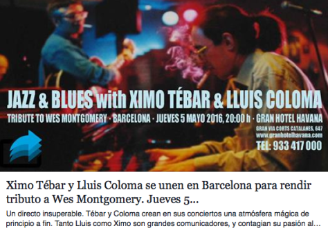 XIMO TEBAR & LLUIS COLOMA TRIBUTE TO WES MONTGOMERY
