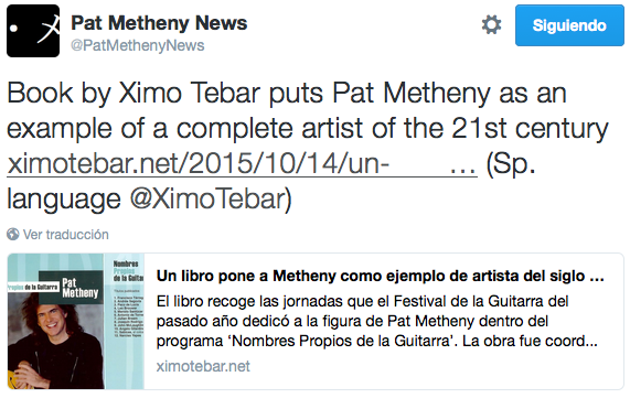 Pat Metheny Tweet by Ximo Tebar