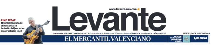 DIARIO LEVANTE XIMO TEBAR JAZZ ENSEÑANZAS PROFESIONALES CVC