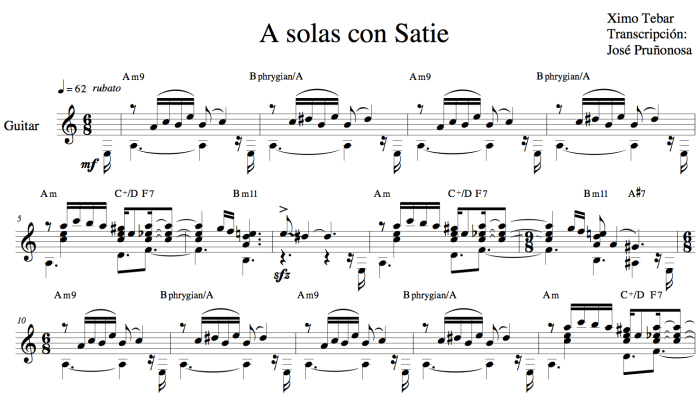 A SOLAS CON SATIE by XIMO TEBAR Transcripcion JOSE PRUÑONOSA