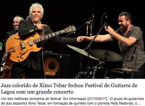 Jazz colorido de Ximo Tebar fechou Festival de Guitarra de Lagoa com um grande concerto