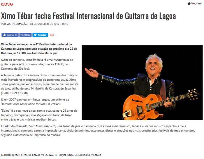 Ximo Tebar fecha Festival Internacional de Guitarra de Lagoa 2017