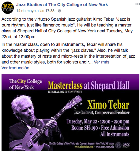 Jazz City College of New York Masterclass Ximo Tebar
