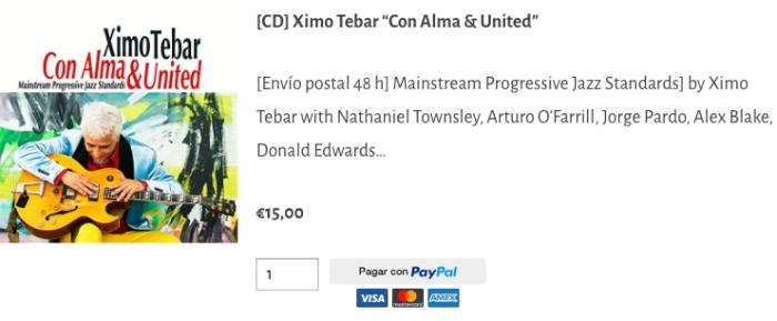 BUY CD XIMO TEBAR CON ALMA & UNITED MAINSTREAM PROGRESSIVE JAZZ STANDARDS