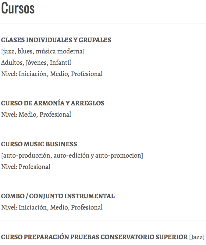 XIMO TEBAR SCHOOL OF MUSIC CURSOS
