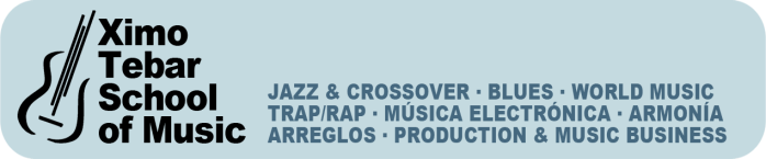 XIMO-TEBAR-SCHOOL-OF-MUSIC-JAZZ-&-CROSSOVER-BLUES-WORLD-MUSIC-PRODUCTION-MUSIC-BUSINESS-GREEN-BANNER-LOGO